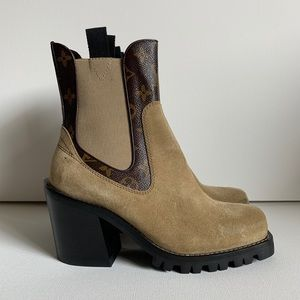 LOUIS VUITTON Suede Monogram Limitless Ankle Boots